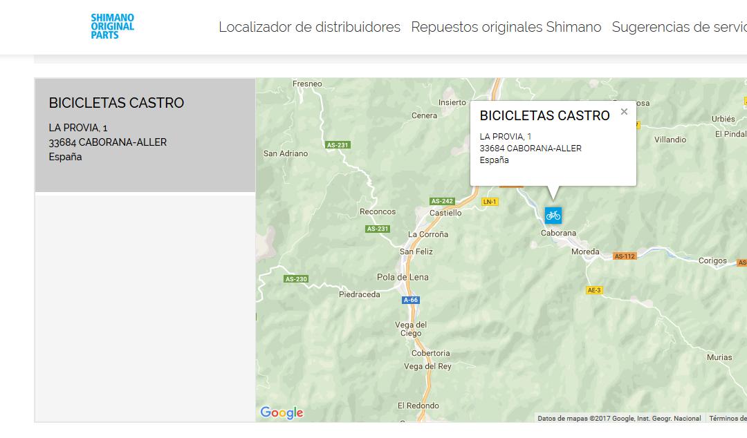 Bicicletas Castro. Distribuidor oficial de Repuestos Originales Shimano